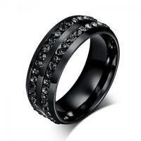 mode titan hochzeit verlobung schwarze cz crystal strass edelstahl band ring
