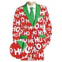 Mens Novelty Christmas Suit Jacket tie  Festive Funny Xmas Party  Coat