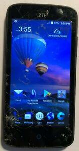 [BROKE} ZTE Z899VL TracFone Black Cell Phone 16GB Good Used Parts Repair CRACKED