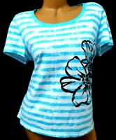 Sb active white blue black floral striped print women's petite size top XL
