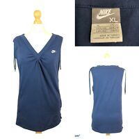 NIKE Women's Navy Blue Sleeveless Organic Cotton T-Shirt Blouse Gym Top Size XL