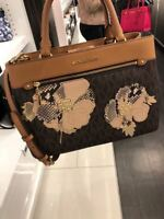 NWT MICHAEL KORS PVC FLORAL PATCHES HAILEE MEDIUM SATCHEL BAG IN BROWN/ACORN