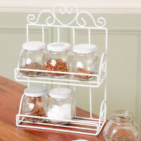 2 Tier Wall Mounted or Free Standing White Wire Spice Herb Rack with 6 Jars