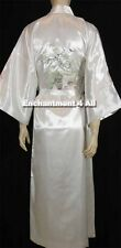 Embroidered Flying Crane Silk Satin Kimono Robe Sleepwear Long Waist Tie, White