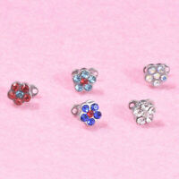 5 Set Micro Dermal Body Jewelry Anchor Tops Top Grade Steel round rhinestone