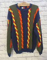 Tommy Hilfiger Vintage 90s Cable Knit Stripe Colorblock Sweater Coogi Size XL
