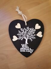 Hanging Wooden Heart plaque. WE are Family Tree can personalise names 20cmx 20cm