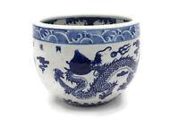 "Vintage Style Blue and White Porcelain Bowl Dragon Motif 8"" Tall"