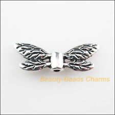 6Pcs Tibetan Silver Tone Animal Wings Spacer Beads Charms 8x22mm