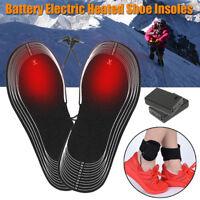 2 x Battery Electric Foot Heated Shoe Boot Insoles Heater Sock Snow Feet WARMER