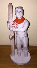 Soviet russian girl skier with skis in winter Russian porcelain figurine c