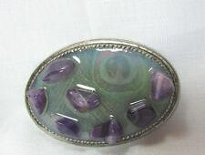 Vintage Mod Purple Stones & Silver Tone Huge Belt Buckle Made In USA