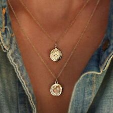Crystal Rhinestone Coin Star Moon Pendant Necklace Multilayer Gold Chain