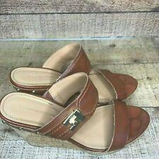 Tommy Hilfiger sandal brown cork wedge heel size 8.5 M