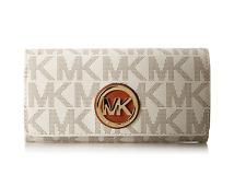 New Michael Kors Fulton Carryall Women's PVC Leather Wallet Purse Vanilla