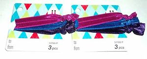 SCUNCI 6 Piece Stretchy hair tie PonyTail Ribbons No Metal Shiny Fabric New #2