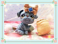 Authentic Littlest Pet Shop - Hasbro Lps - Bulldog Dog #668 Blue Brown Eyes