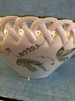 VTG.RCCL PORTUGAL Hand-Painted PORTED Porcelain White/green leaves Bowl / Basket