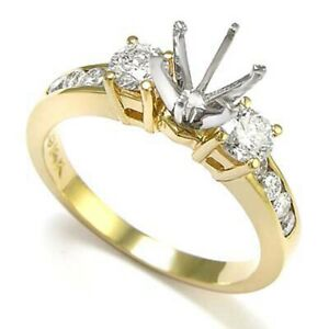 14k Yellow Gold Diamond Engagement Ring Setting Mount 0.70ct.