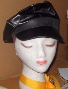 Pleather Police Biker Taxi Newsboy Black Hats lot of 24 Theatrical Dance Adjusta
