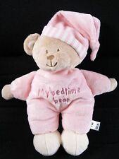 MOTHERCARE MY BEDTIME STRIPY HAT PINK TEDDY SOFT TOY BABY COMFORTER NEXT DAY POS
