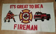 "It's Great to be a Fireman- Vintage RARE Tapestry 24"" x 34"""