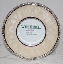 WINTHROP SILVER Photo Picture Frame Crystals Pearlized Enamel Round Hauppauge NY