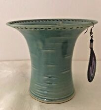 Wheel Thrown Stoneware Green and Turquoise Earring Holder by Barb Lund #15