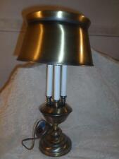 Vintage Bronzed Brass 3-Arm CandleStick Bouillotte Desk Table Lamp w/Tole Shade