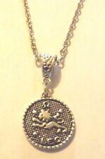 collier 46 cm avec pendentif médaille argentée zodiaque lion diamètre 20 mm