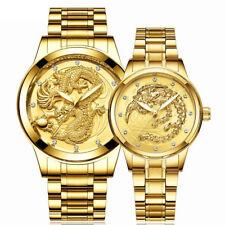 2 relojes para hombres y mujeres Dragón Phoenix diamantes Parejas Amantes Reloj De Oro