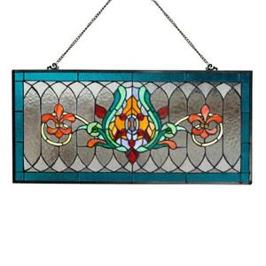 River of Goods Horizontal Window Panel Fleur De Lis Stained Glass 28 in. Chain