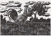 ERIC RAVILIOUS 1930 Wood Engraving - 'AWAKING CALL'.