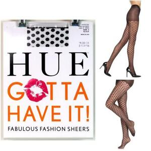 Womens Hue Gotta Have It Fashion Sheer Dot Tights Black Size 2 New