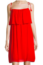 NWT Laundry Shelli Segal Dress Womens 2 Shift Red Orange Sleeveless Tank Tassel
