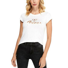 New GUESS Women's White Sparkly Logo T Shirt Tee Size Medium