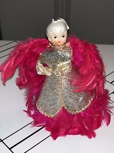 VIntage Holt Howard  Pink Feather Angel Hand Painted Face 7 Inch Angel RARE