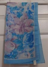 """TERRIART Floral Turquoise,Lavender, White; Turquoise Border 33"""" Sq Scarf-Vintage"""