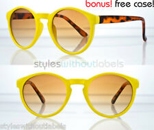 Vintage Spectacles Round Hippie Sunglasses Yellow Retro