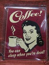 Coffee Woman Funny Vintage Metal Advertising Sign