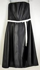 Scott McClintock Black Strapless Dress with White Trim Top & Waist & Bow Sz 10