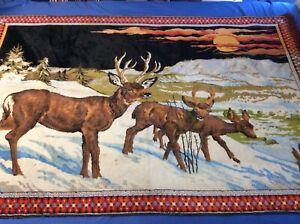Vintage Tapestry 70 x 49 Deer Winter Scene Woven Rug Wall Hanging