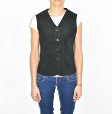 Black Leather OUTBROOK Hips Length Western Button Women's Vest Waistcoat Size M