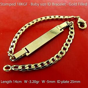 ID Bracelet 18K Yellow Gold Filled Initial Identification Baby Size Bangle
