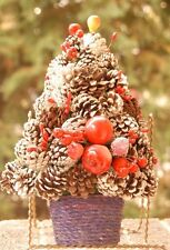 Vintage/Antique Christmas Tree Made Out Of Pine Cones Decorated 9 1/2""