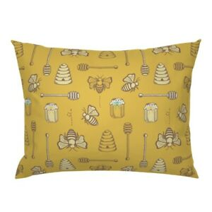 Honey Flow Summer Bee Hive Gold Kitchen Decor Yellow Pillow Sham by Roostery