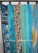 Indian Old Sari Patchwork Curtain Drape Window Silk Sare Saree Curtain Turquoise