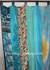 Indian Old Sari Patchwork Curtain Drape Window Decor Silk Sari Curtain Turquoise