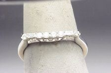 JX Diamond Baguette Marriage Band 14k White Gold Estate V Filigree  Ring