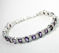 "Natural Amethyst Tennis Bracelet 7.75"" Sterling 925 Silver jewelry 16 g MB1477"